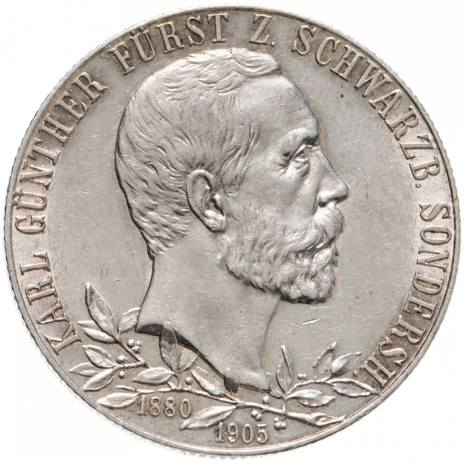 купить Германская Империя, Шварцбург-Зондерсгаузен 2 марки (mark) 1905 25 лет правления