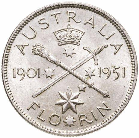 """купить Австралия 1 флорин 1951 """"50-летие Австралийского Союза"""""""