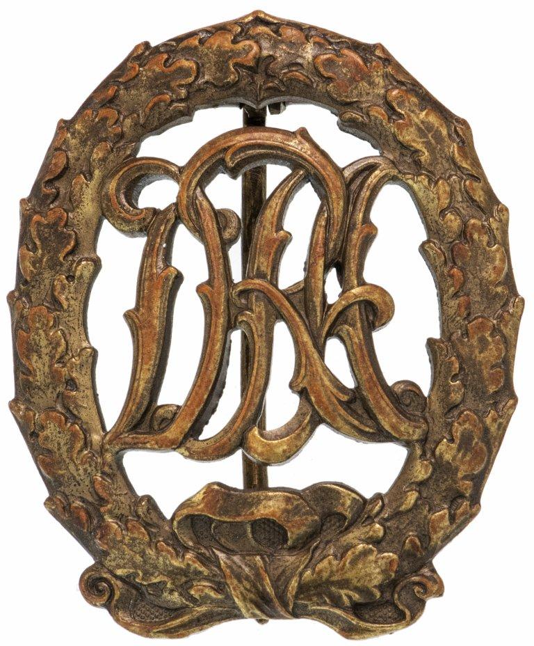 купить Знак спортивный квалификационный DRA (Deutsche Reichsausschuss) в бронзе, без свастики (клеймо Wernstein), Германия