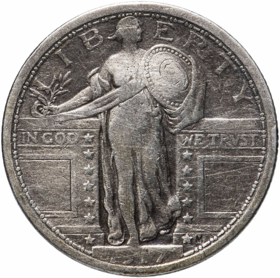 купить США 25 центов (квотер, 1/4 доллара, quarter dollar) 1917 Standing Liberty Quarter Без отметки монетного двора