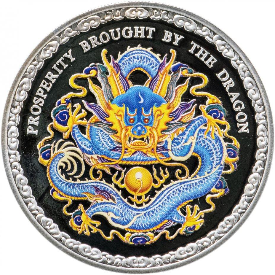 """купить Острова Кука 5 долларов 2012 """"Китайский гороскоп - год дракона"""" в футляре с сертификатом"""