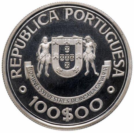 """купить Португалия 100 эскудо (escudos) 1989   """"Золотой век открытий - Открытие Канарских островов"""""""