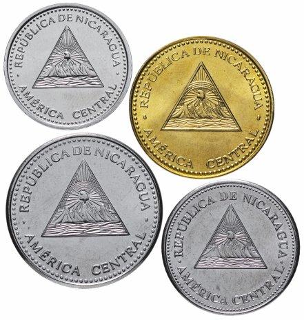 купить Никарагуа набор из 4-х монет 10, 25, 50 сентаво и 1 кордоба 2014-2015, случайный год