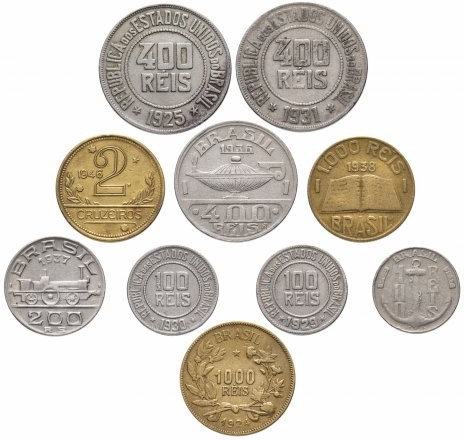 купить Бразилия набор из 10 монет 1924-1946