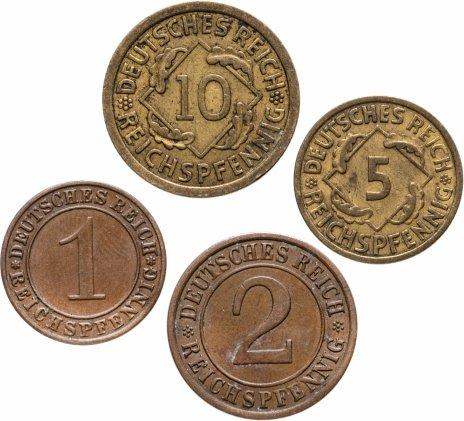 """купить Германия, набор из 4 монет (рейхспфенниг / reichspfennig) 1936 A, Отметка монетного двора """"A"""" — Берлин"""