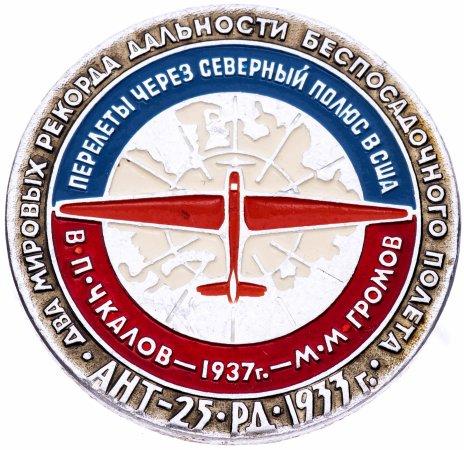 купить Значок Перелёты через Северный Полюс в США - Авиация СССР  (Разновидность случайная )