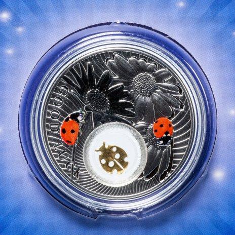 """купить Ниуэ 2 доллара (dollars) 2012 """"Монеты на счастье - Божья коровка"""" в буклете с сертификатом"""