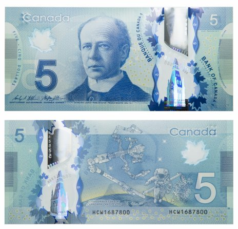 купить Канада 5 долларов 2013 (2016) (Pick 106с) пластик