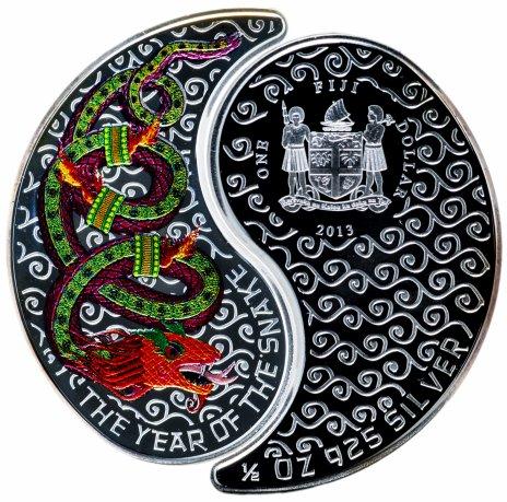 """купить Фиджи 1 доллар 2013 """"Китайский календарь - год змеи"""" в футляре с сертификатом"""