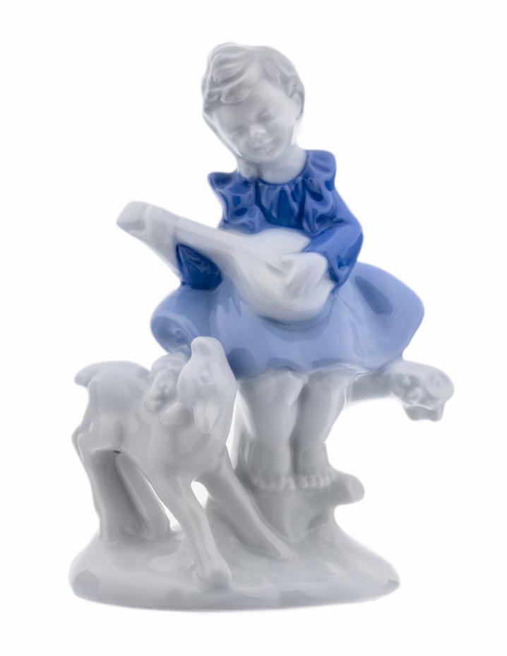 """купить РЕЗЕРВ Статуэтка """"Девочка с овечкой"""", фарфор, роспись, мануфактура """"Gerold Porzellan"""", 1949-1989 гг."""