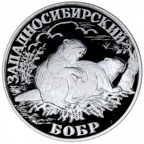 купить 1 рубль 2001 СПМД Proof западносибирский бобр