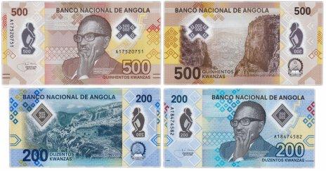 купить АНГОЛА - набор банкнот (2 шт) 200 + 500 Кванз Кванза 2020 года new UNC полимер