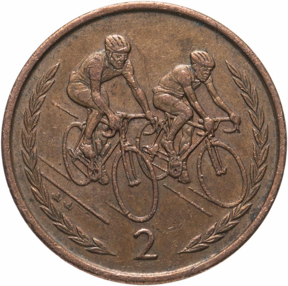 """купить Остров Мэн 2 пенса (pence) 1996-1997 """"Велосипедисты"""", случайная дата"""