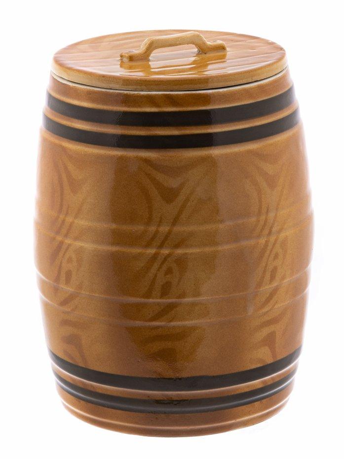 купить Ёмкость для хранения стилизованная под деревянный бочонок, фаянс, Кировский фаянсовый завод, СССР, 1957-1965 гг.