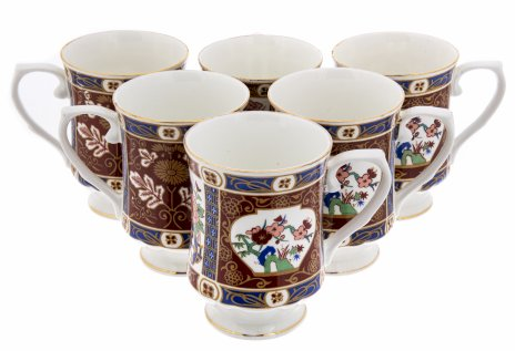 """купить Набор из шести чашек с цветочным декором, фарфор, деколь, мануфактура """"Hitkari"""", Индия, 1970-2000 гг."""
