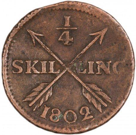 купить Швеция 1/4 скиллинга 1802