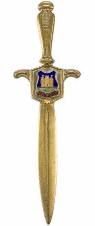 """купить Нож для писем и бумаг в виде меча с геральдическим изображением """"Pembroke"""", латунь, Великобритания, 1960-1980 гг."""
