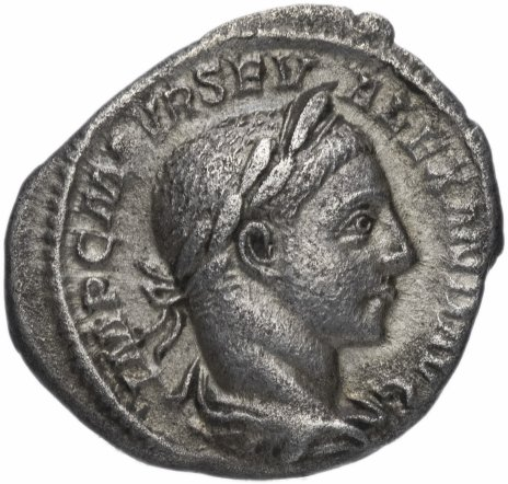 купить Римская Империя Александр Север 222-235 гг денарий (реверс: Юпитер сидит на троне влево, в правой руке Виктория, в левой скипетр)