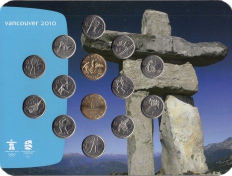 """купить Канада набор монет 25 центов - 1 доллар """"Олимпиада в Ванкувере"""" (14 монет) в буклете"""