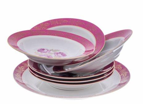 """купить Набор тарелок с цветочным декором на 6 персон, фарфор, деколь, мануфактура """"Porzellanfabrik Spezialporzellan Eisenberg"""", Германия, 1970-1990 гг."""