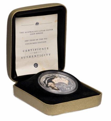 """купить Австралия 1 доллар 2008 """"Капитан Артур Филипп"""" к подарочной коробке"""