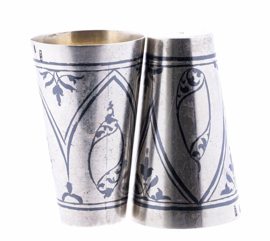 купить Набор из двух рюмок с черневым растительным орнаментом, серебро 875 пр., СССР, 1960-1990 гг.