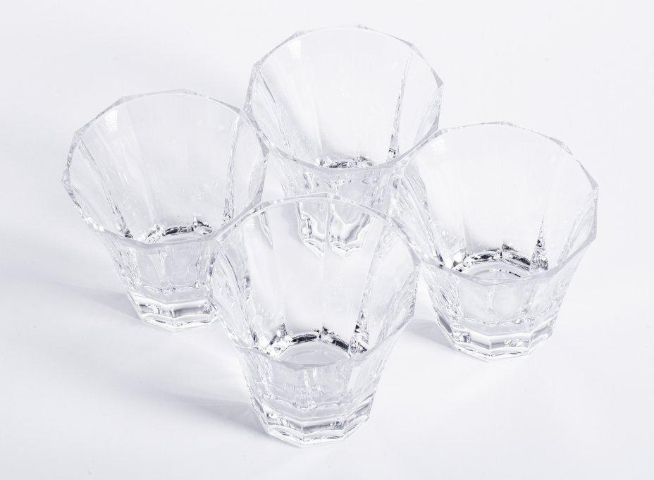 """купить Набор из 4 граненых стаканов для виски ассиметричной формы, стекло, фирма """"Bohemia Jihlava"""", Чехия, 2000-2020 гг."""