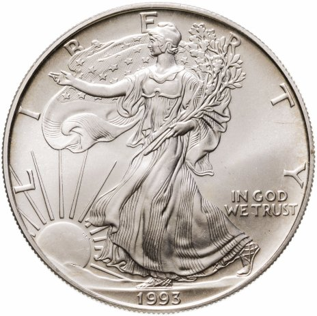купить США 1 доллар (dollar) 1993  Американский серебряный орёл Без отметки монетного двора