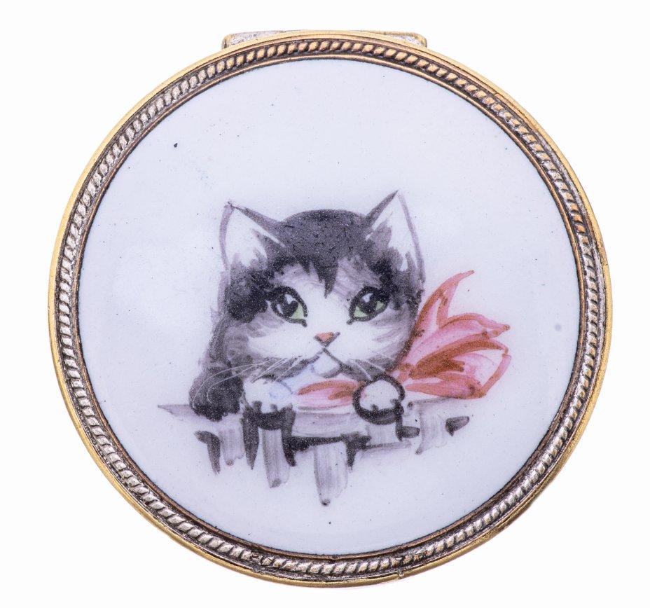 купить Таблетница с изображением кошки, сплав металла, финифть, СССР, 1970-1990 гг.