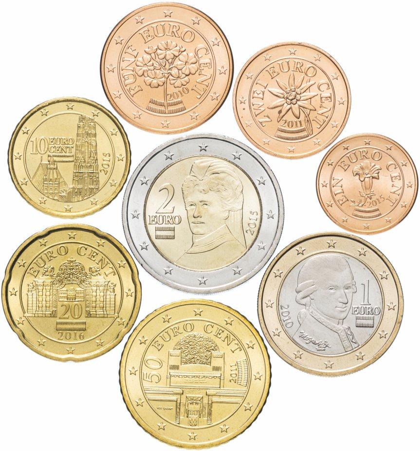 купить Австрия годовой набор евро 2010-2016 (8 монет, UNC)