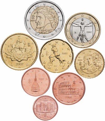 купить Италия набор монет евро 2002 (8 штук)