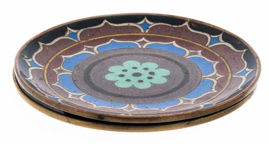 купить Набор из двух розеток в технике клуазоне с орнаментальным декором, медь, эмаль, Китай, 1950-1980 гг.