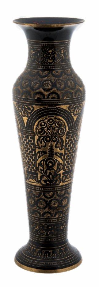 купить Ваза для цветов декорированная в восточном стиле, латунь с гравировкой, Индия, 1970-1990 гг.