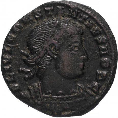 купить Римская Империя Констанций II 324–361 гг фоллис (реверс: два воина стоят лицом друг к другу, между ними один штандарт)