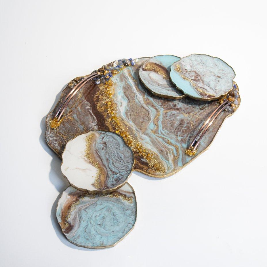 """купить Набор для подачи чая """"Принцесса"""" (5 предметов), авторская работа в технике Resin Art, глянцевое 3D покрытие, камень, Россия, 2021 г."""