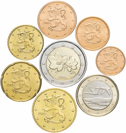купить Финляндия годовой набор евро 2005 (8 монет, мешковые)