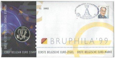 купить Жетон Бельгии в конверте с маркой, посвященный филателистической выставке 1999 года