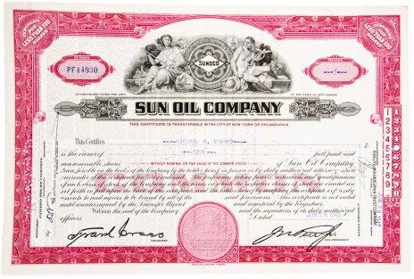 купить Акция США SUN OIL COMPANY 1942 г.
