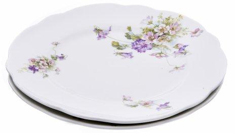 купить Набор обеденных тарелок на две персоны с цветочным декором, фарфор, деколь, Российская Империя, 1880-1917 гг.
