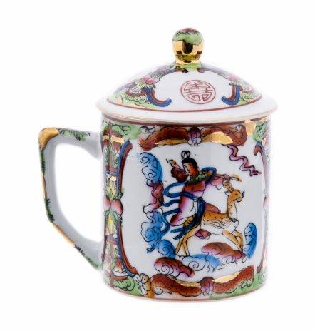 купить Чашка чайная с крышкой, фарфор, роспись, Китай, 1960-1990 гг.