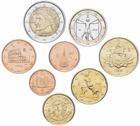 купить Италия набор монет евро 2008 (8 штук)