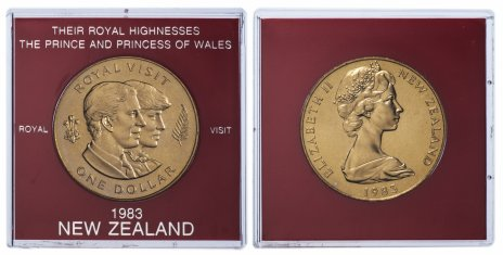 """купить Новая Зеландия 1 доллар 1983 """"Королевский визит"""", в футляре"""