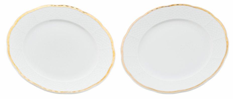 """купить Набор пирожковых тарелок декорированных золочёной каймой на 2 персоны, фарфор, деколь, мануфактура """"Thun"""", Чехия, 1970-1990 гг."""