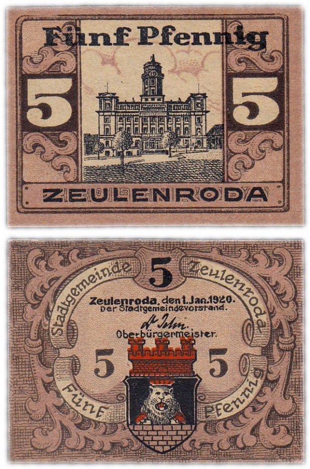 купить Германия (Тюрингия: Цойленрода) 5 пфеннигов 1920 (B)