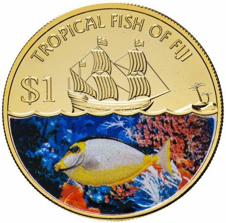 """купить Фиджи 1 доллар 2009 """"Тропические рыбы острова Фиджи"""""""