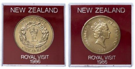 """купить Новая Зеландия 1 доллар 1986 """"Королевский визит"""", в футляре"""