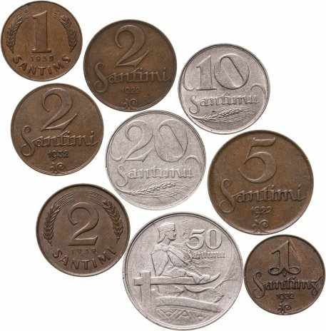 купить Латвия набор из 9 монет 1922-1939