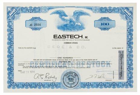 купить Акция США EASTECH, INC. 1974 г.