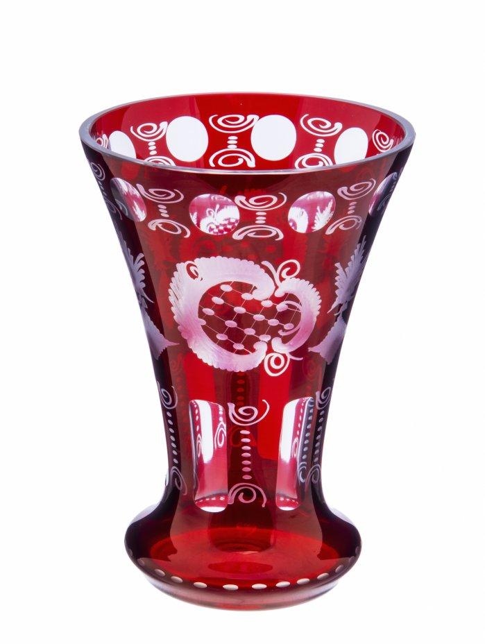 купить Ваза для цветов с резным узором, двухцветное стекло, Германия, 1970-2000 гг.