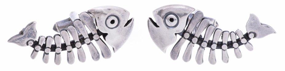 купить Запонки в форме скелетов рыб, сплав металла, Мексика, 2000-2015 гг.
